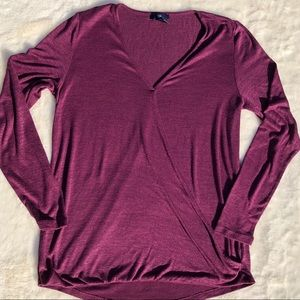 GAP Purple Wrapped Front Long Sleeve Top sz Medium